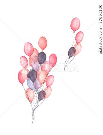 Bunch of party balloons. Flying colorful balloons. 57691130