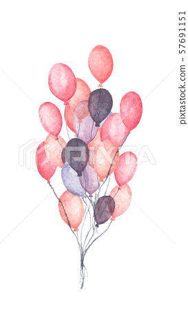 Hand drawn pack of party pink and purple balloons. 57691151