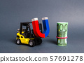 A forklift carries a magnet to a bundle of Euro. Attracting money and investments for business purposes and startups. Increase profits and attract new customers. bonus, cashback. Business strategy. 57691278