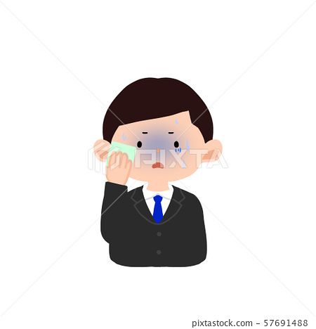Men in suits wiping sweat 57691488