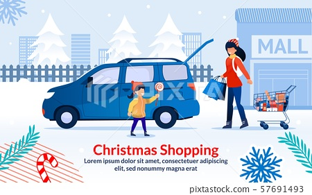Christmas Shopping during Sale at Shop Mall Poster 57691493