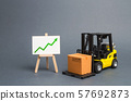 forklift truck carries a cardboard box and a sign with green a arrow up. Retail, resale, sales of products. Growth and stability of the economy. Profit growth from sales and high production of goods. 57692873