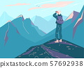 Explore mountain vector background. Man with backpack and binoculars stand on peak edge and look on 57692938