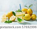 Homemade lemonade  on a light background, cold 57692996