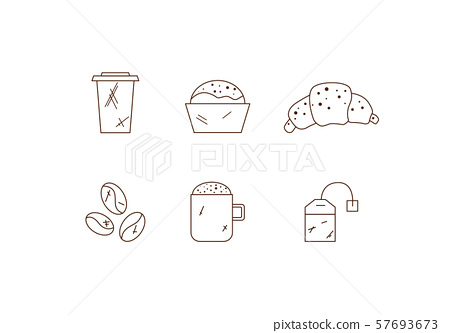 Set of linear coffee icons. Drinks icons 57693673