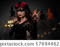 Zombie woman with Wound face black hair red rose 57694462