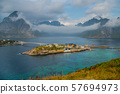 View of Sakrisoy, a small fishing village in Moskenes Municipality on Lofoten islands in Nordland county, Norway 57694973