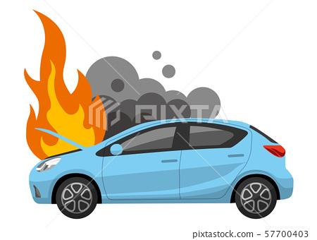 일러스트 소재 : 자동차 보닛에서 화재 57700403