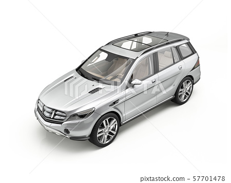 Generic Luxury silver SUV car Isolated on white. 57701478