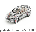 Generic Suv car detailed cutaway 3D rendering. 57701480