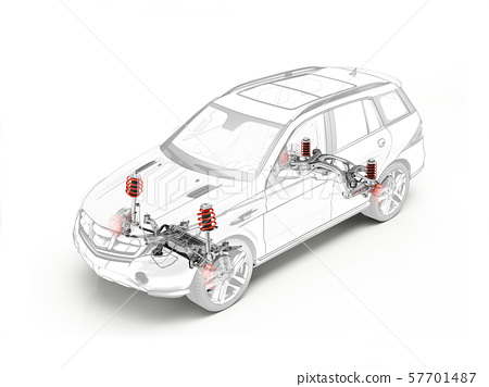 Suv technical drawing showing suspension system. 57701487