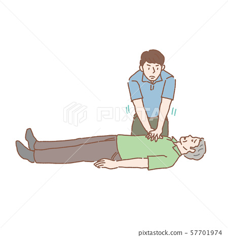 年長人心臟按摩例證 57701974