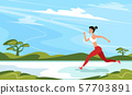 Strong athletic woman sprinter running outdoors 57703891