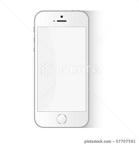White Flat Phone Vector Smartphone Design Template 57707591
