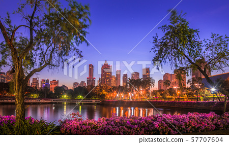 Lake in City Park under Skyscrapers at Night 57707604