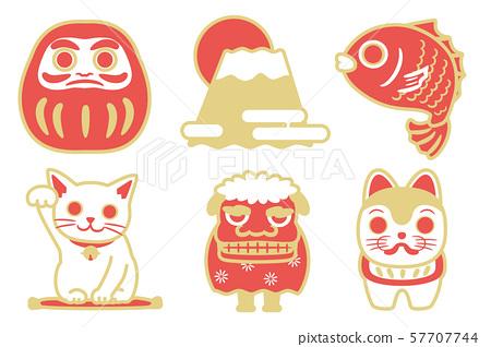 幸運套裝(Daruma,Mt。Fuji,Sakai,招財貓,舞獅,迷宮狗) 57707744