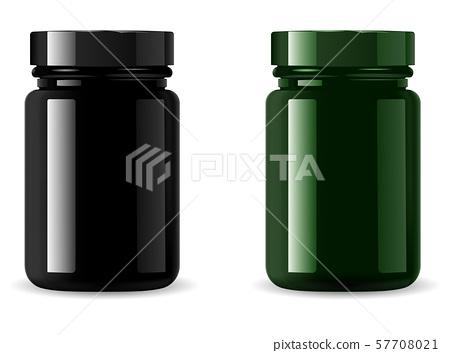 Black Medicine Bottle Mockup. Cosmetic Packaging 57708021