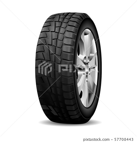 Winter tire. Realistic Wheel tyre chrome rim. 3d 57708443