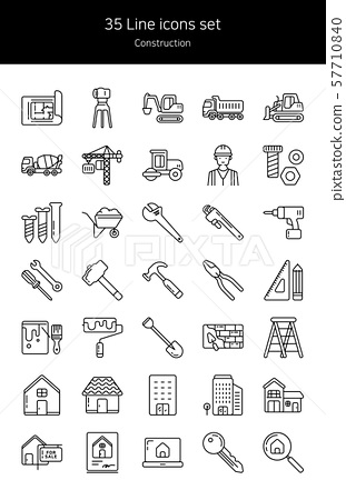 Line icon set-construction 57710840