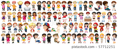 Children with different nationalities on white 57712251