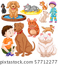 Children with animals on isolated background 57712277