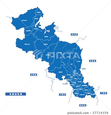 교토지도 간단한 파란색 도시 57714359