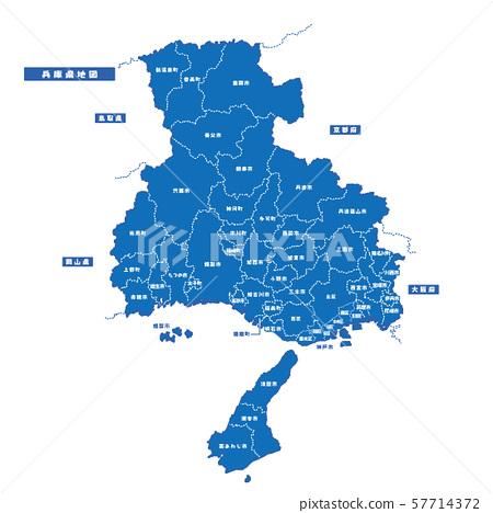 효고현지도 간단한 파란색 도시 57714372