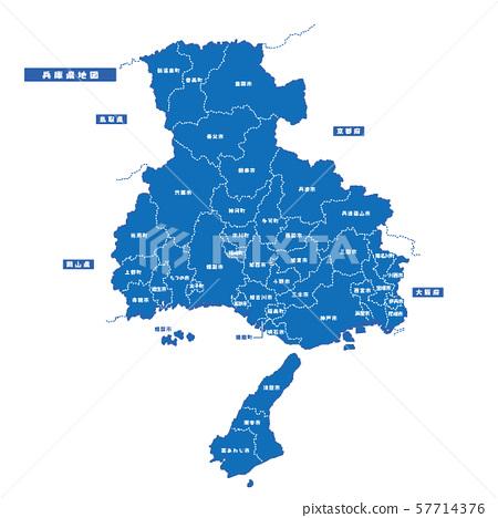 효고현지도 간단한 파란색 도시 57714376