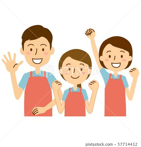 앞치마 폴로 셔츠 3 명 분홍색 하늘색 57714412