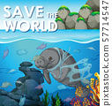 Pollution control scene with manatee underwater 57714547