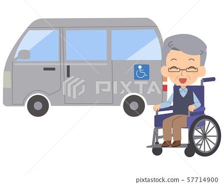 수석 남자 휠체어 미소 간호 자동차 57714900