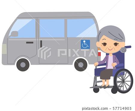 노인 여성 휠체어 간병 차 57714903