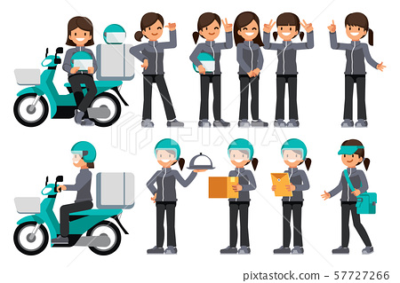 Female delivery staff with motorcycle. 57727266