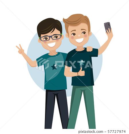 Happy friends taking a selfie 57727974