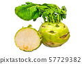 Kohlrabi and its cross-section 3d rendering 57729382