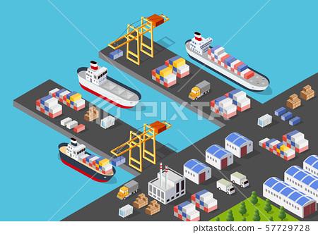 Isometric port cargo ship 57729728