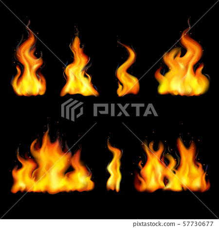 Realistic Fire Flame Icon Set 57730677