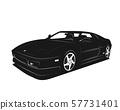 Sport car vector illustration. Black and white 57731401