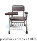 Writing pad student chair Front view 3D 57731870