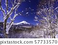 (山梨县)从白雪皑皑的第20次通过富士山 57733570