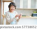 웃는 수석 여성 스마트 폰을 가진 노인 여성 실버 세대 노인 여성 인물 57738652