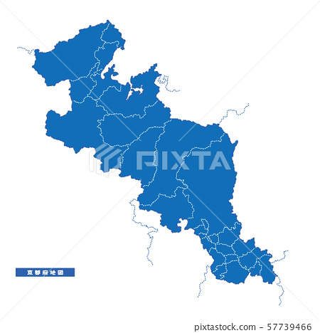 교토지도 간단한 파란색 도시 57739466