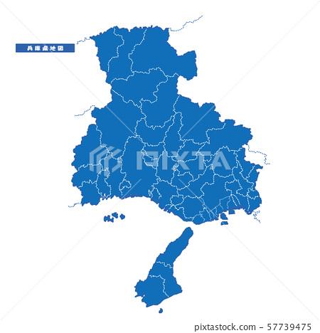 효고현지도 간단한 파란색 도시 57739475