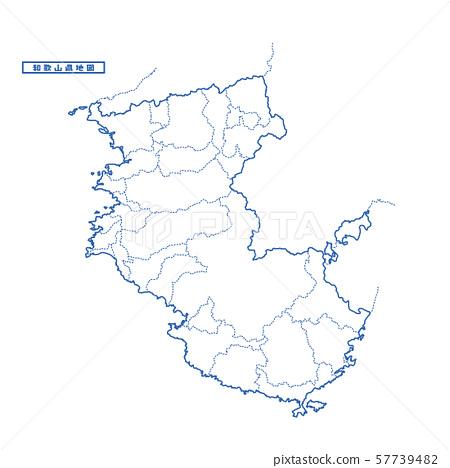 와카야마 현지도 단순 백지도 도시 57739482