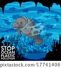 Poster design with manatee and plastic bags 57741406
