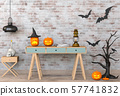 3D render Halloween party in living room with pumpkins, jack-o-lantern 57741832