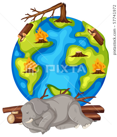 Global warming with deforestation and dying animal 57741972