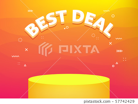 Best deal banner template. Cheap shopping, low price store promo illustration. 3D text on futuristic abstract background. 57742429