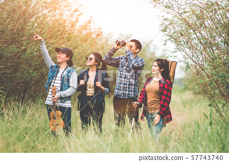 Group of Asian friends team adventure for hiking 57743740