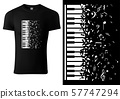 Black T-shirt Design with Piano Keyboard 57747294